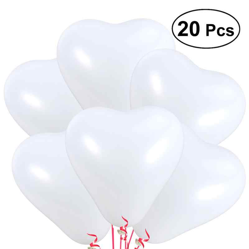 20 Pcs 10 Inch Heart Latex Balloons Thickened Decorative Balloon for Parties Birthdays and Wedding Celebration(White)