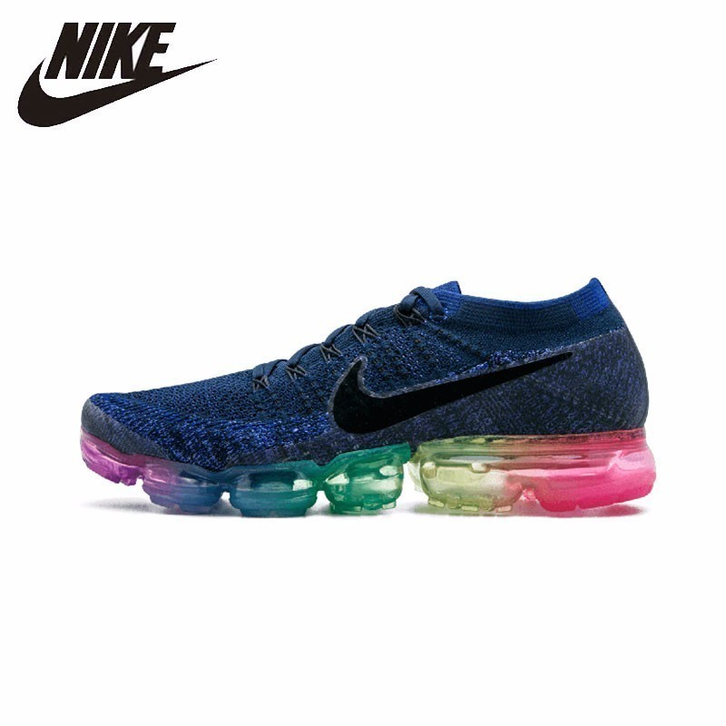 Nike Original Air VaporMax Be True Flyknit respirant confortable chaussures de course pour hommes Sports de plein Air baskets arc-en-ciel #883275-400