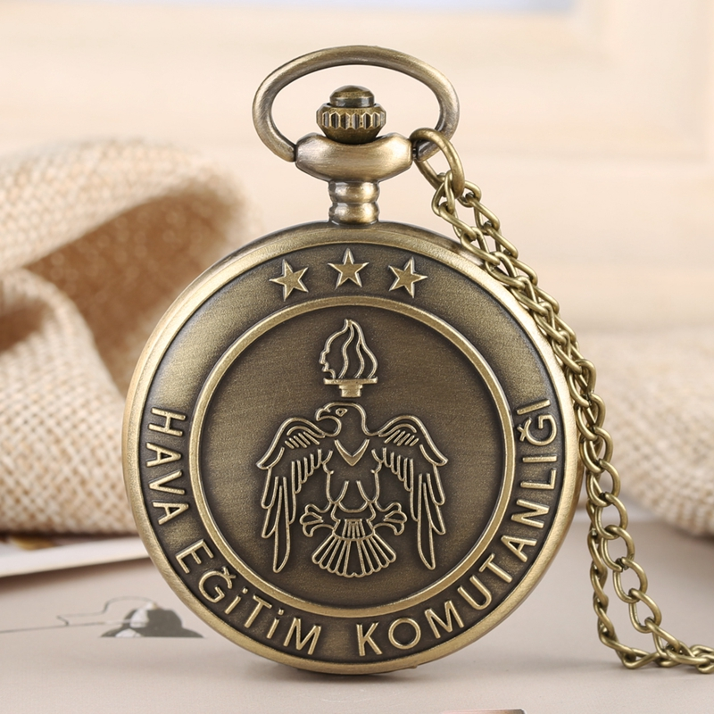 Bronze Eagle Pattern Quartz Pocket Watch Men Turkish Air Force Training Command Clock Necklace Pendant Boys Gifts + 80cm Chain