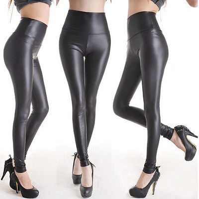 Sexy Women Faux Leather Pants Matt Look Pant High Waist Stretch Black Leather Slim Pants Leggings