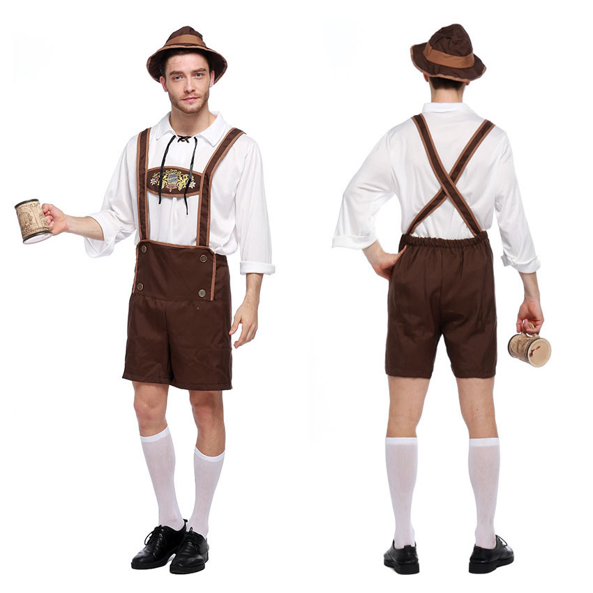 Male Germany Oktoberfest Beer Festival Cosplay Costumes Man Bavaria Traditional Clothing Set Cow Boy Stage Wear Performance Durable Service