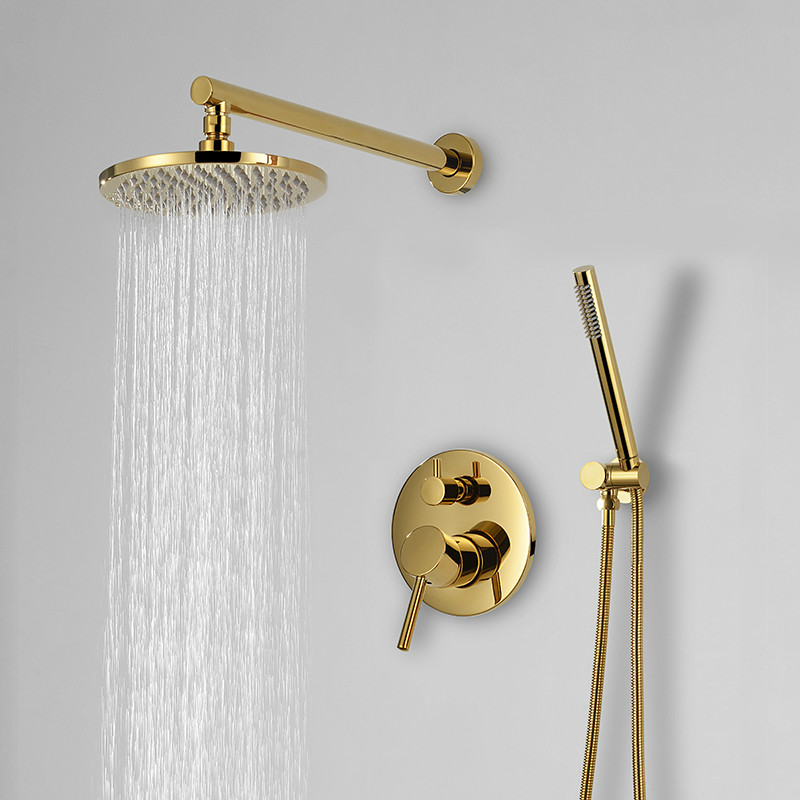 Gold Solid Brass Bathroom Shower Set 8 16 inch Shower Head Faucet Wall Mounted Shower Arm