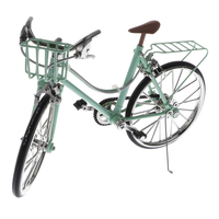 1/10th Green Miniature Alloy Racing Bike Cycling Model Toy Bicycle w/Basket & Seat Diecast Vehicle Model Showcase Display