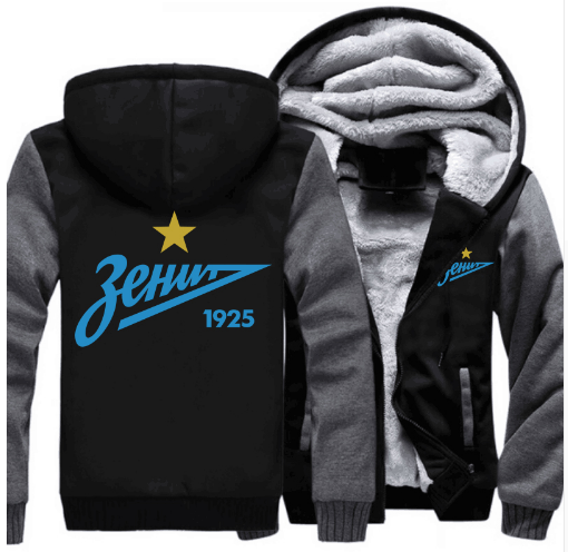 FC Zenit Saint-petersburg Logo Hoodie Mode Russe Premier League Manteau Zipper Hiver Polaire Thicken Veste Pulls sweatshirts