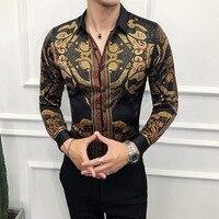 2019 Band Autumn Mens Gold Shirts Social Club Shirt Luxury Baroque Shirts Camisa Slim Fit Black Gold Mens Designer Shirts Tuxedo Shirts