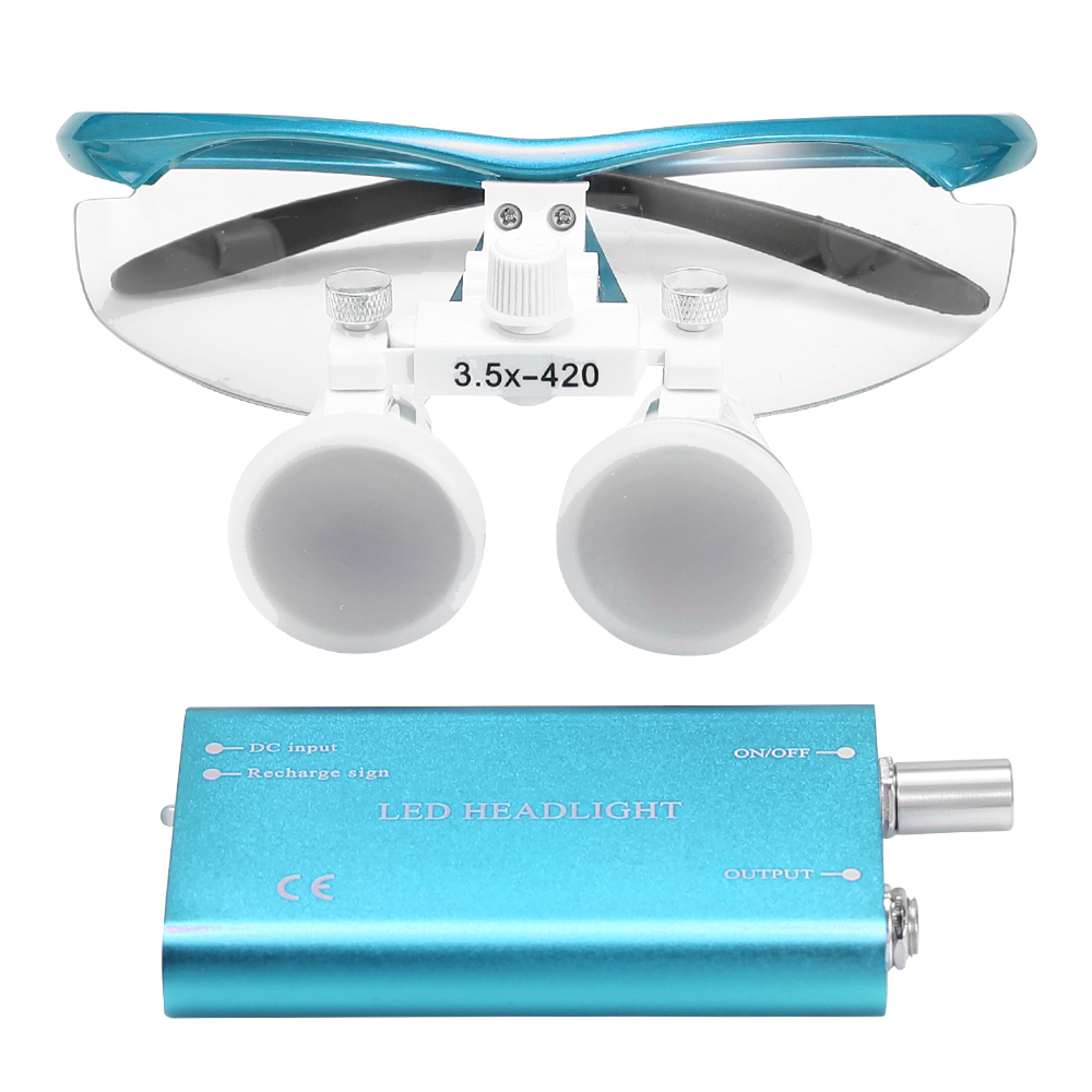 Wearable Magnifier Portable 3.5X 420mm Surgical Medical Binocular Loupes Optical Glass Headset Magnifying Glasses +3W LEDWearable Magnifier Portable 3.5X 420mm Surgical Medical Binocular Loupes Optical Glass Headset Magnifying Glasses +3W LED