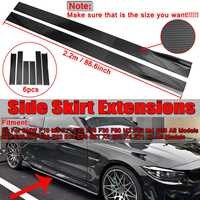 2.2m Carbon Fiber Loook/Black Car Side Skirts Extensions Splitters Rocker For BMW F30 F80 M3 F82 M4 F32 F36 E90 E92 E93 F10 F11