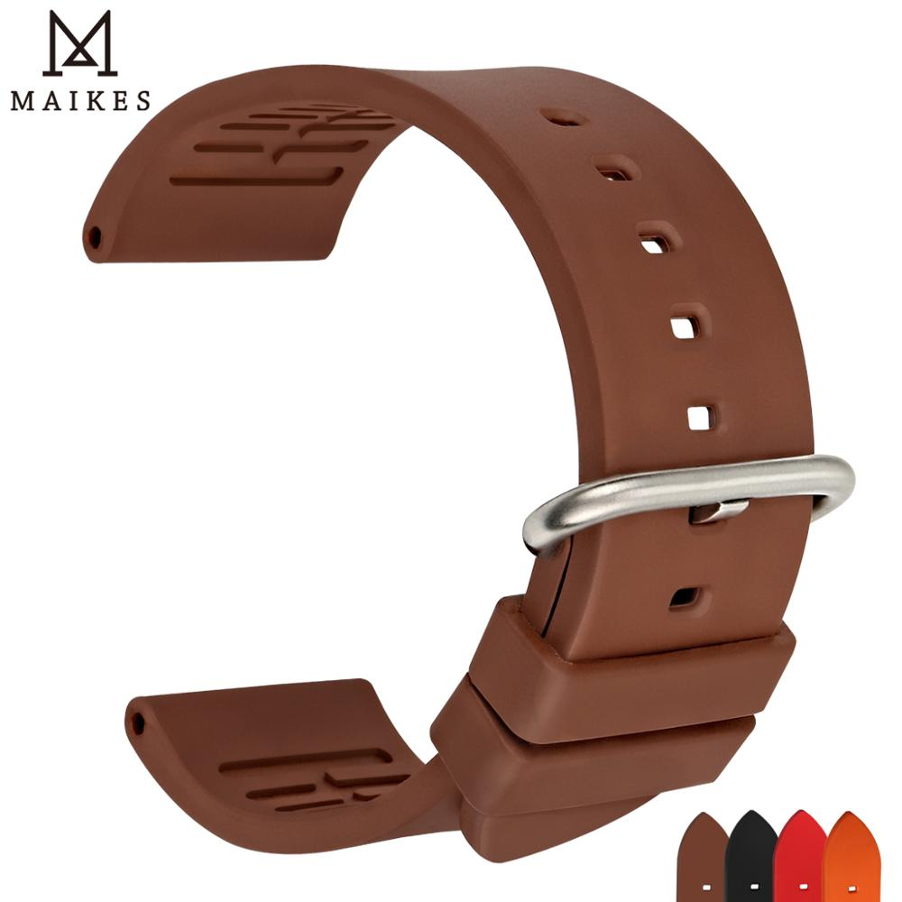 MAIKES New fluororubber watchbands 20 22mm 24mm sports rubber watch strap concise fashion band watch accessories watch braceletMAIKES New fluororubber watchbands 20 22mm 24mm sports rubber watch strap concise fashion band watch accessories watch bracelet