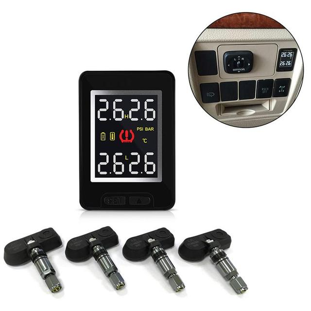 U912 Car Wireless Tire Pressure Monitoring System 4 Internal Anti-theft Sensors LCD Real-time TPMS For Toyota Land Cruiser Reiz