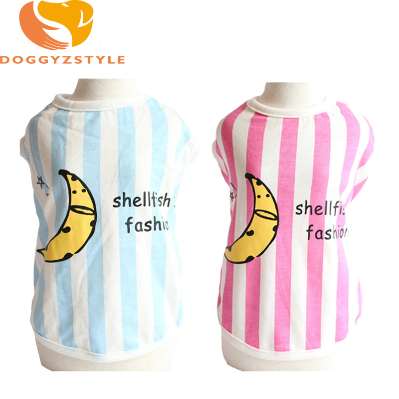 New Summer Dog Vest Pet Clothes For Small Dogs Banana Pattern Striped Tshirt Pet Supplies DOGGYZSTYLE