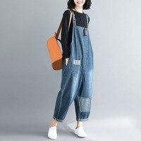 2019 Big Size Women Jeans Jumpsuits Loose Female Denim Patchwork Jumpsuits Vintage Sleeveless Long Romper