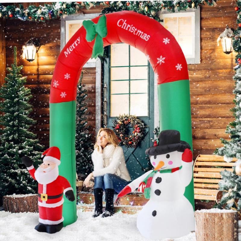 240 cm accessoires de noël géant père noël bonhomme de neige gonflable arche de jardin cour arche de noël ornements fête maison boutique fête décor E
