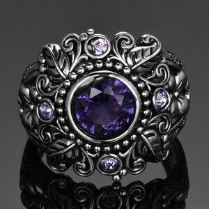 Image 2 - Винтажное ювелирное изделие, 3 карата, аметист, Стерлинговое Серебро 925 пробы, кольцо, круглая огранка Фиолетовый натуральный камень, женские свадебные кольца с драгоценными камнями Anel Aneis