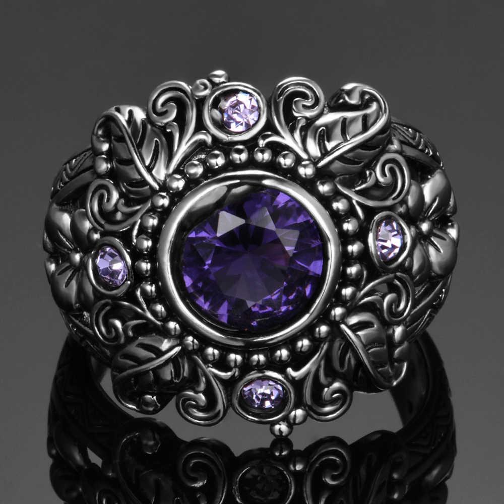 เครื่องประดับ Vintage 3ct Amethyst 925 เงินสเตอร์ลิงแหวนรอบตัดสีม่วงหินธรรมชาติผู้หญิงแต่งงาน Anel Aneis แหวนอัญมณี