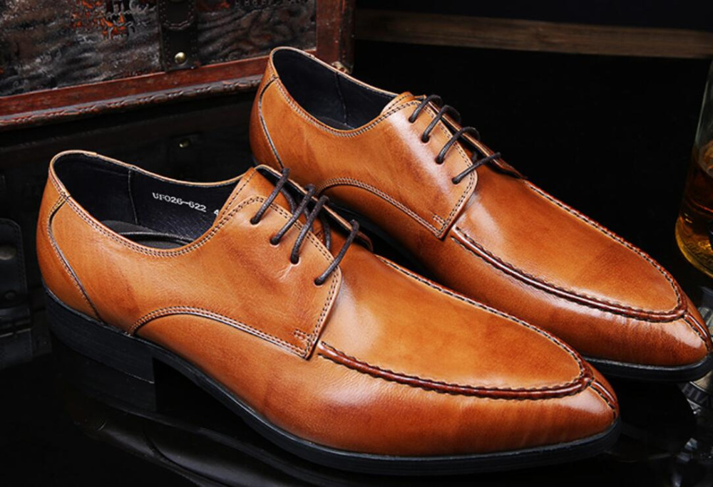 Real Leather Man Dress Wedding Fashion Oxfords Shoes 2018 Men Autumn Cowboy Design Derby Oxfords Shoes Camisa Social Masculina