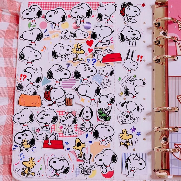 40pcs / Pack Snoopys Sticker Kawaii Cartoon Dog Sticker Decoration Sticker Diy Craft Album Stickers Scrapbooking Cute Stationary