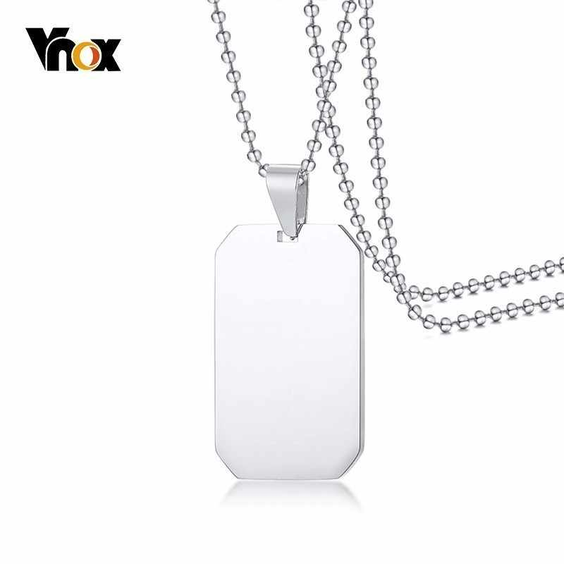 """Vnox Classic Dog Tag For Women Men Silver 316L Stainless Steel Unisex Simple Pendant Casual Necklace 24"""" Beads Chain"""