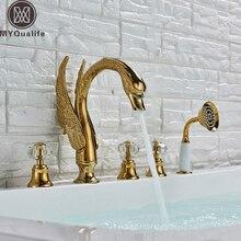 Grifo de bañera de cisne extendido, grifo mezclador de bañera dorada montado en cubierta, juego de ducha de baño de cisne de 3 asas con cabezal de ducha extraíble