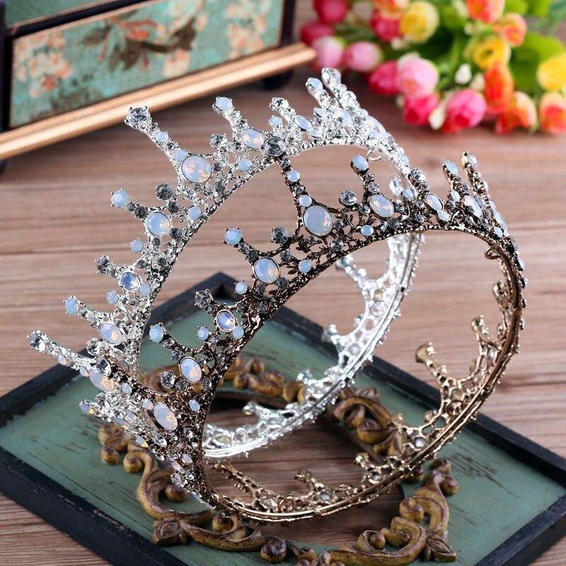 Round Large Queen Tiara Crown Crystal Rhinestone Vintage Baroque Headband Hair Jewelry Wedding Bride Headdress Costume Headpiece