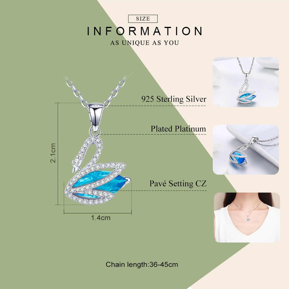 Колье bisaer 925 пробы серебро синий и прозрачный кристалл лебедь кулон Цепочки и ожерелья Длинные звено цепи Модные украшения Bijoux (украшения своими руками) GXN303