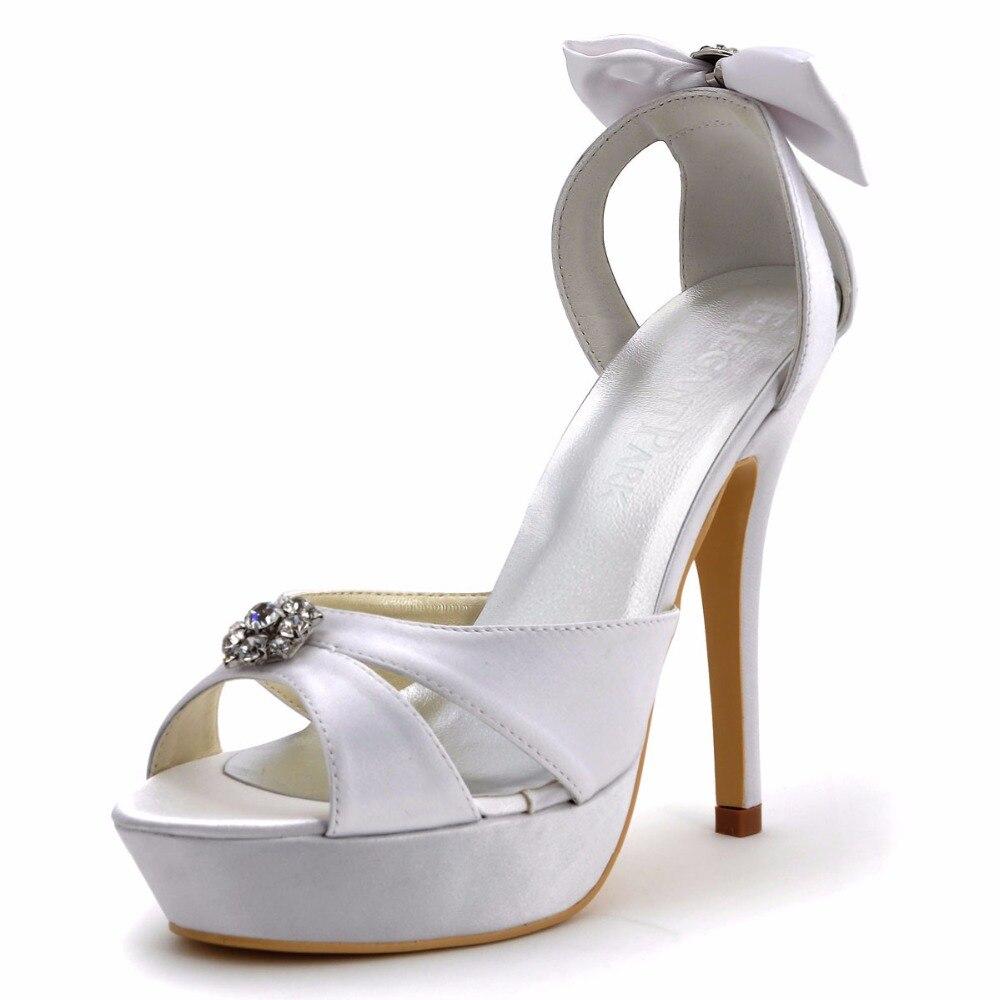 Summer Women Sandals Wedding Bridal White Ivory Peep Toe