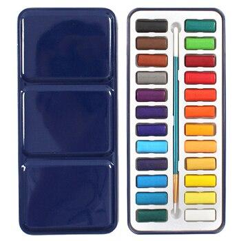 24 colores caja de lata portátil acuarela sólida juego de pinturas para artista escuela estudiante dibujo pintura papelería arte suministros 21,5