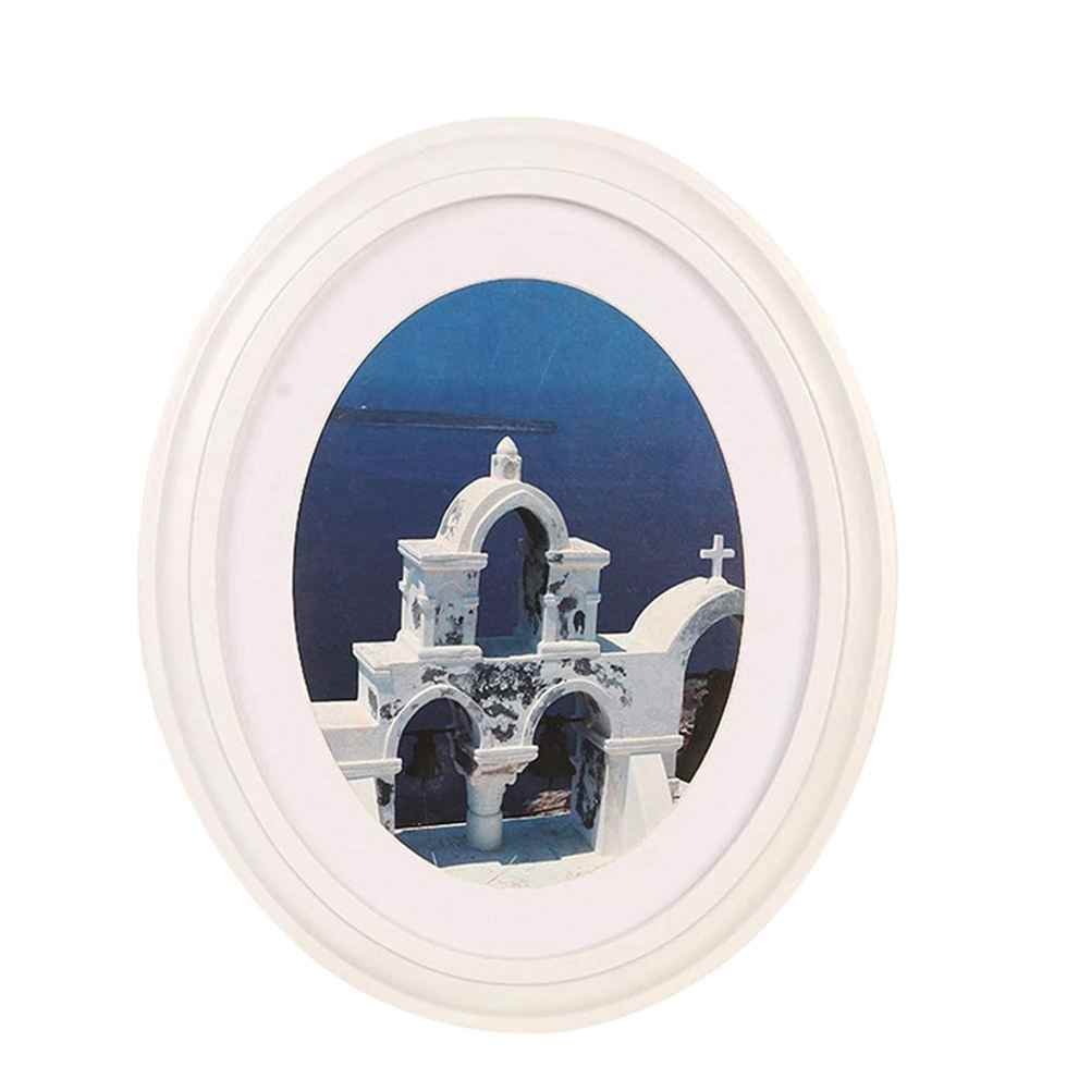Photo Frame Classic Wooden Oval Shape Wall Hanging Decoration Picture Frame with Seamless Nail and S Nail