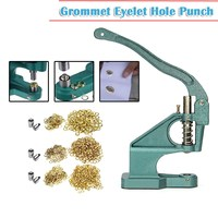 Grommet Eyelet Hole Punch Machine Hand Press Steel Banner Bag+3 Dies+ 900 Grommet for Leather Craft Clothing Grommet Banner