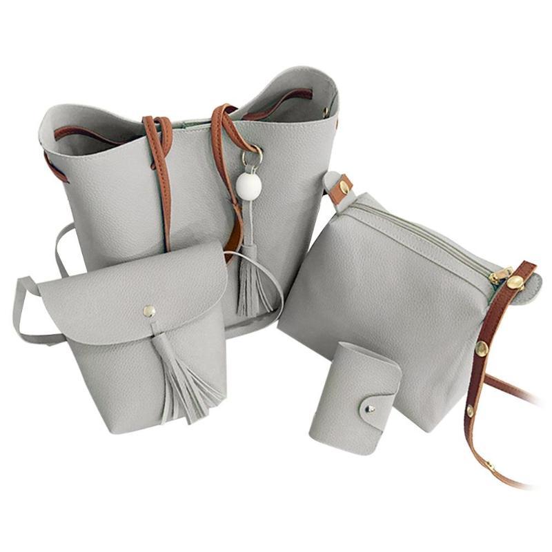 4Pcs/Set Litchi Leather Shoulder Bag Tassel Women Solid Color Crossbody Tote Messenger Handbags Clutch Card Holder Bags Bolsas