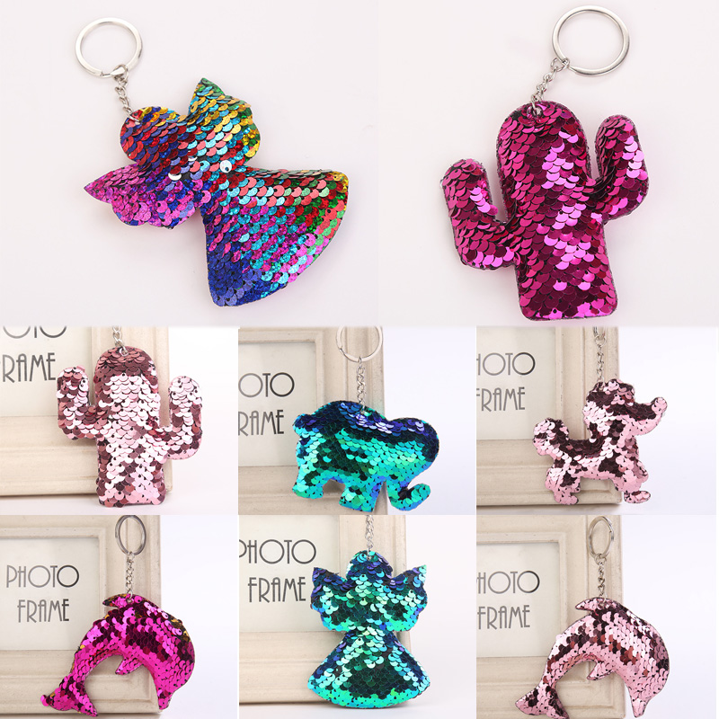 Sale Cute Dolphin Angel Keychain Glitter Pompom Sequins Key Chain Gifts For Women Llaveros Mujer Car Bag Accessories Key Ring