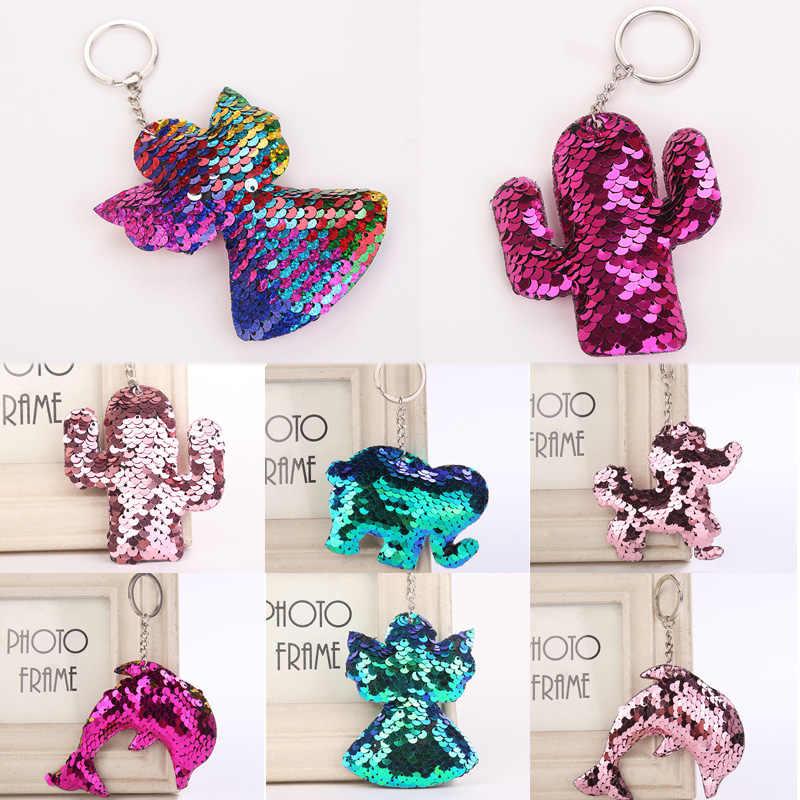 Venda bonito golfinho anjo chaveiro glitter pompom lantejoulas chaveiro presentes para as mulheres llaveros mujer acessórios do carro chaveiro
