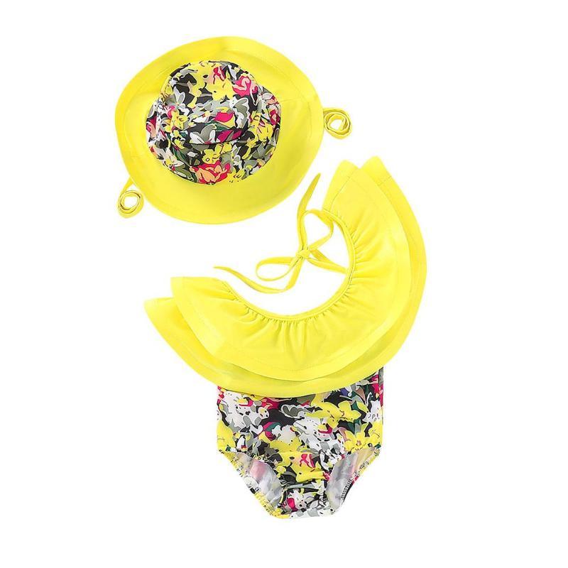 2 Teile/satz Baby Mädchen Bikini Set Mit Kappe Blume Druck Schulter Kinder Bademode Kappe Infant Kinder Sommer Einem Stück Badeanzug Hut Nachfrage üBer Dem Angebot