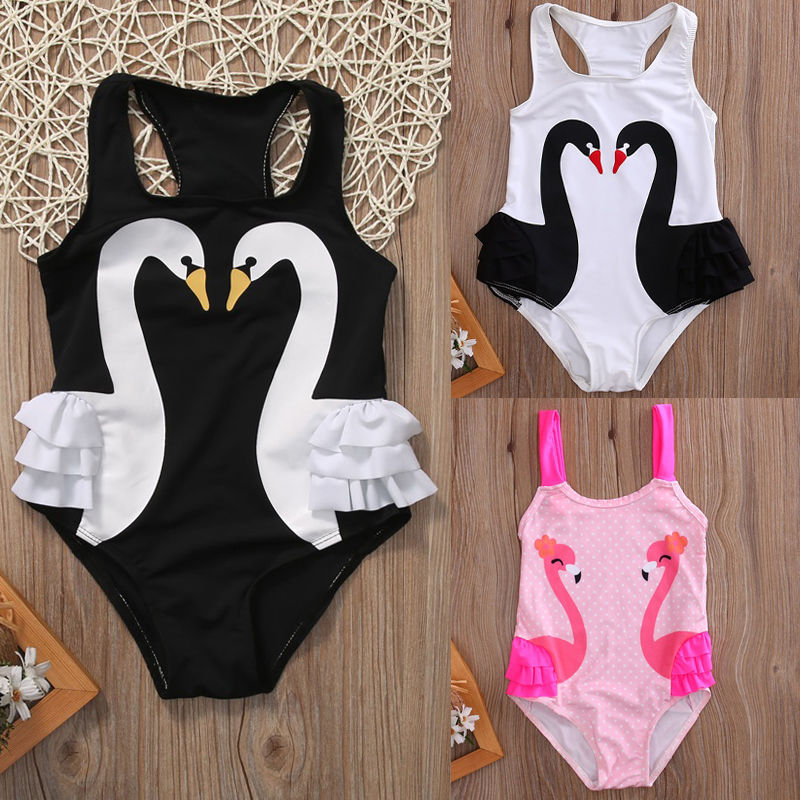 Toddler Baby Kids Girls Tutu Swan Print Swimsuit Swimwear Ruffle Bikini Bathing Suit One Pieces