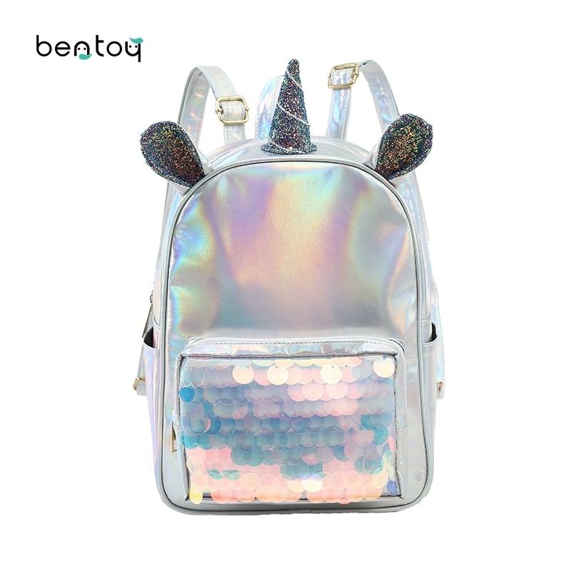Fashion Leather Unicorn Backpack For Women Girls Clear Mermaid Sequins Travel Bag Teenager Student Schoolbag Mochila Feminina