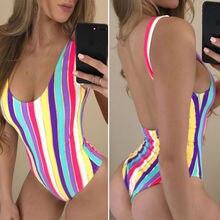 ITFABS Striped One Piece Swimsuit 2019 Women Swimwear Monokini Girls Trikini Summer Beachwear Female Bathing Suit Swim Wear