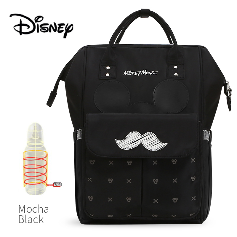 Disney USB Bottle Feeding Travel Backpack Baby Bags Storage Bag Mommy Bags Mickey Cute Waterproof Diaper Bags