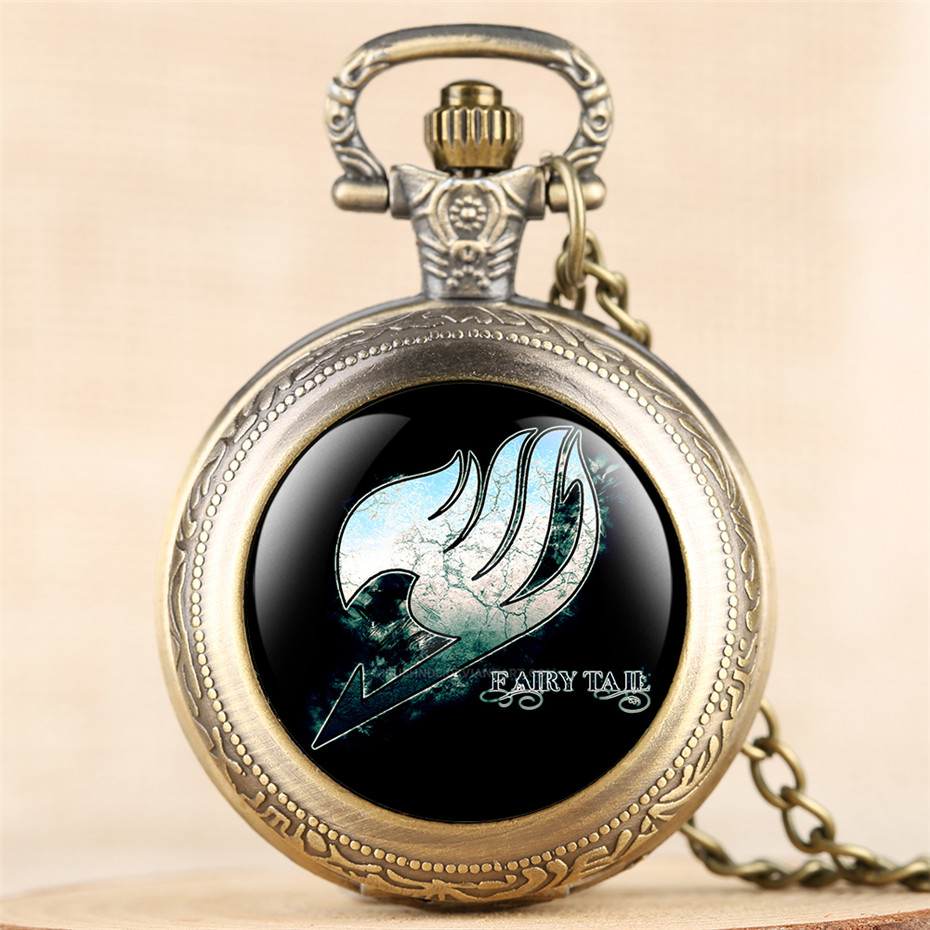 Classic Japanese Anime Fairy Tail Theme Quartz Pocket Watch Exquisite Necklace Clock For Children Men Women With Fob Chain