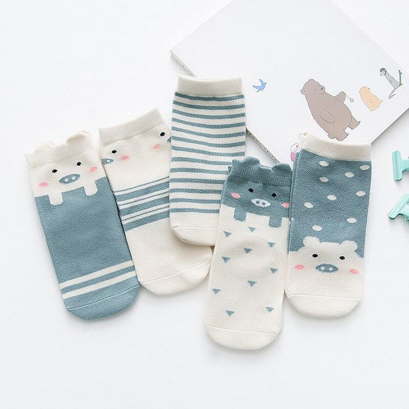5 Pair/lot Baby Breathable Boys Girls Socks For Children Sock Kawaii Cartoon Cotton Kids Socks Suitable For 1-12Y