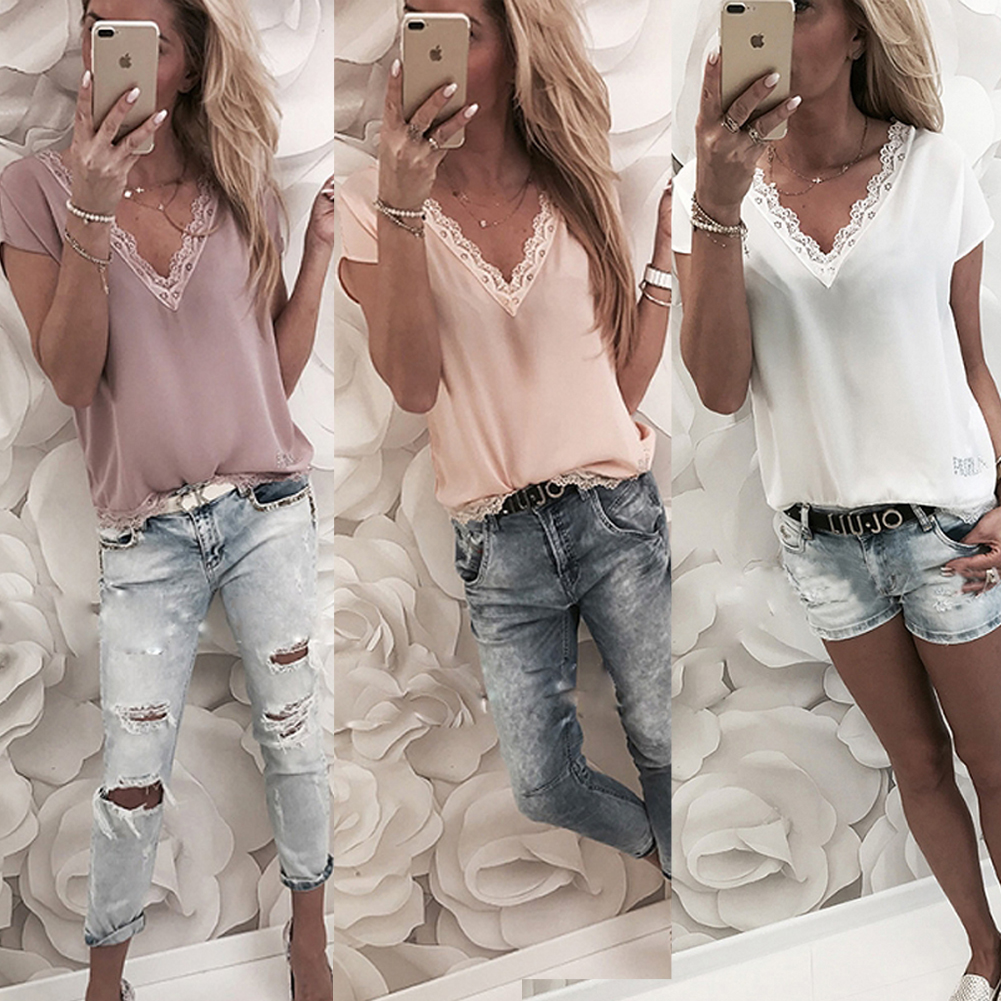 2019 Women   Blouse     Shirts   Tops Summer Casual Loose Short Sleeve Solid Lace V-neck Chiffon   Blouses   Female   Shirts   Blusa Plus Size