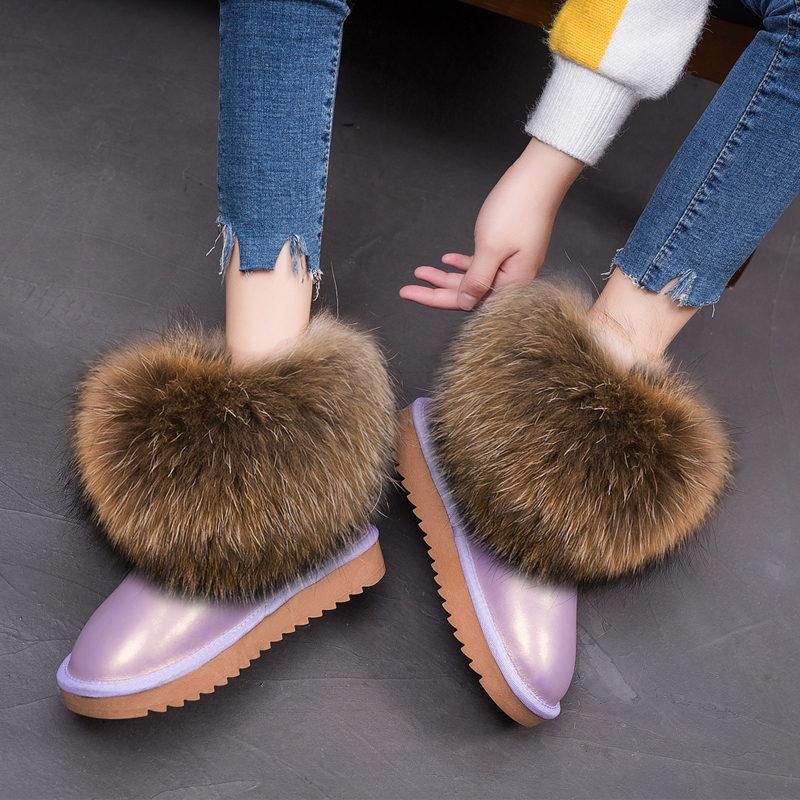 RUIYEE Ladies Winter Boots Leather Snow Boots Fox Fur Women's Boots 2018 New Real Hair Warm Shoes