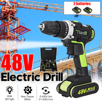 Deorsupp Electric Screwdriver Cordless Drill 2 Speed Mini Impact Drill Power Driver 48V Max DC Lithium Ion Battery|Electric Drills| |  -