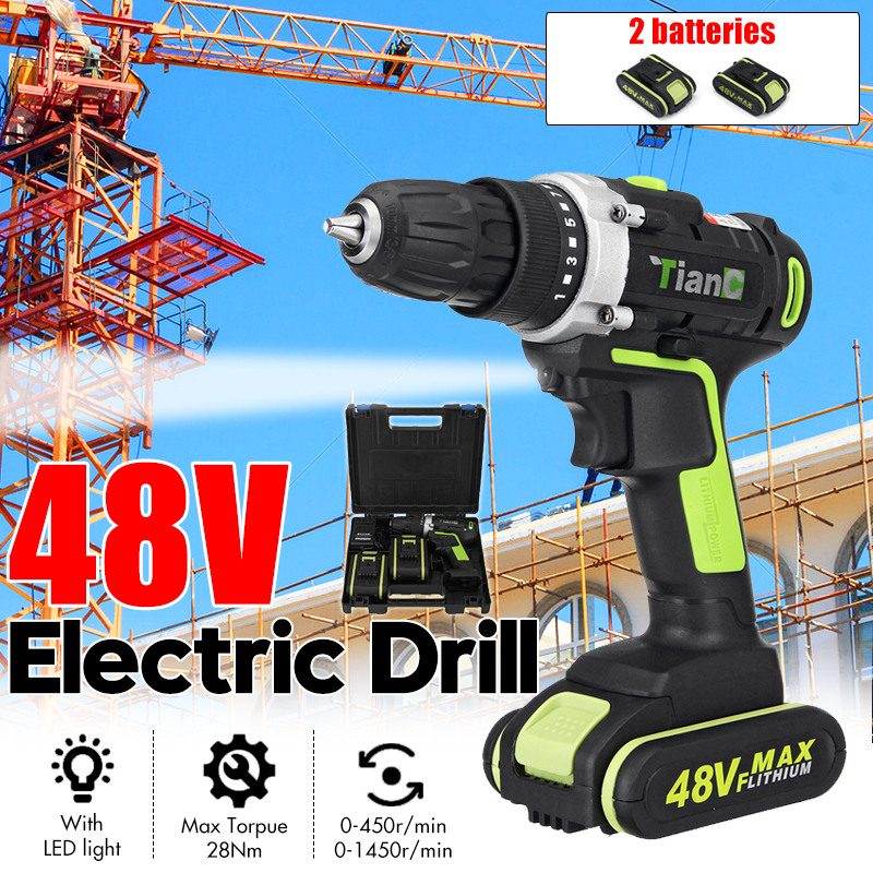Deorsupp Electric Screwdriver Cordless Drill 2-Speed Mini Impact Drill Power Driver 48V Max DC Lithium-Ion Battery