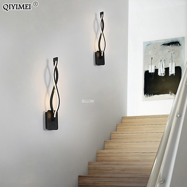 Modern Minimalist Wall Lamps Living Room Bedroom Bedside 16W AC96V-260V LED Sconce black white Lamp Aisle Lighting decoration Home Decor & Toys