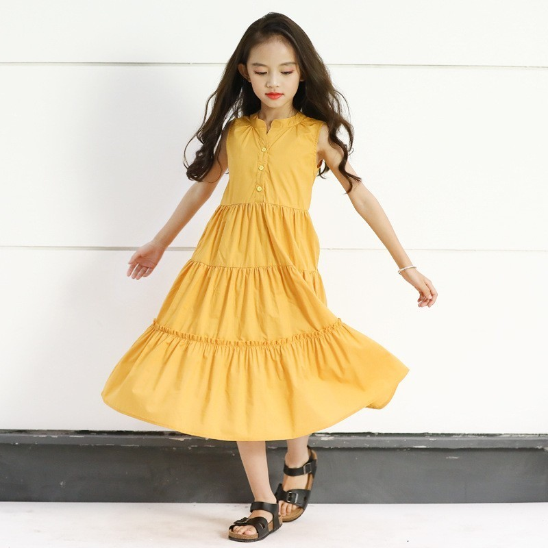 teen little girls party dresses 2020 maxi long teenage girls summer dresses yellow children clothing age 4 <font><b>6</b></font> 8 <font><b>10</b></font> <font><b>12</b></font> 14 16 years image