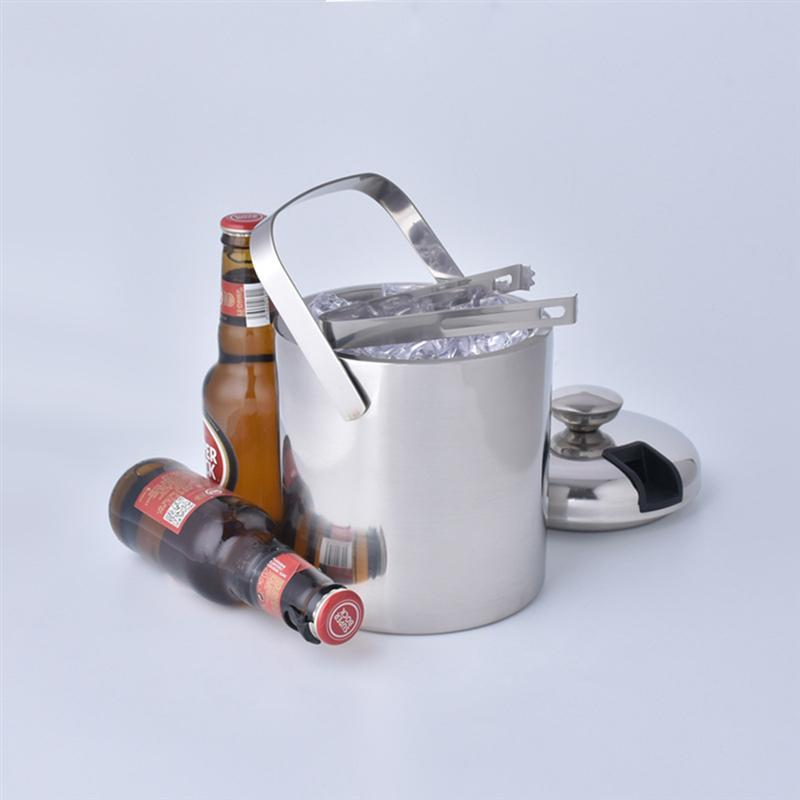 Stainless Steel Ice Bucket 1300Ml Double Layers Ice Container Portable Bar Red Wine Barrel Kitchen Bar Tools
