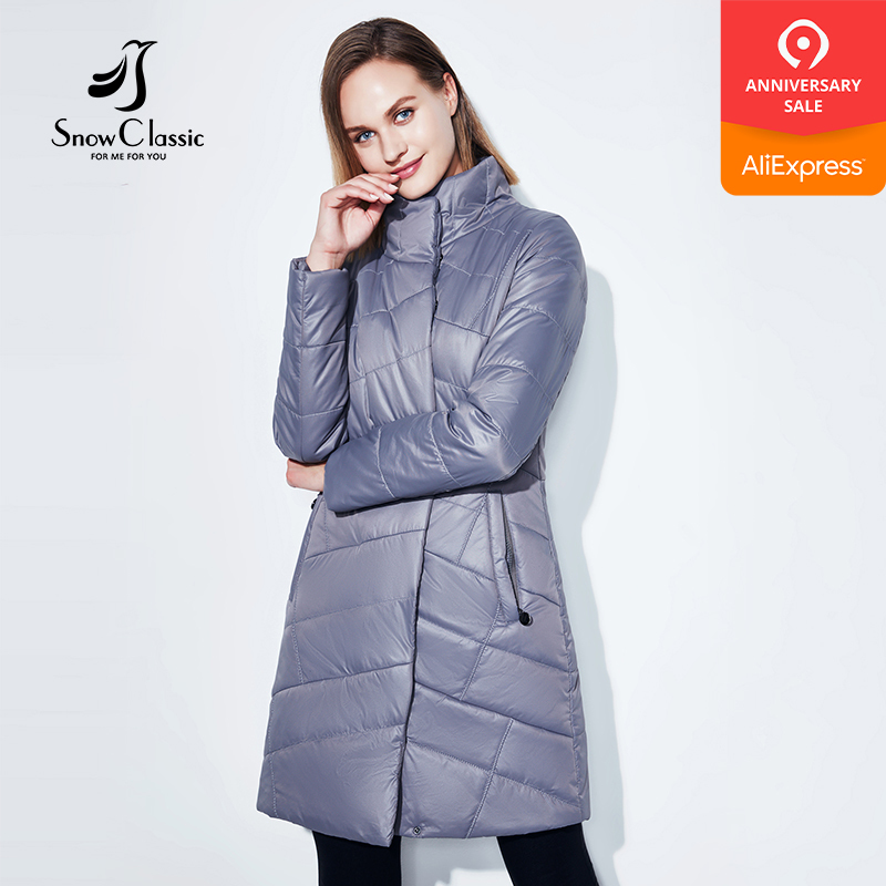 SnowClassic new spring coat women's long fashion coat thin cotton warm coat short   trench   coat high-quality European women 2018