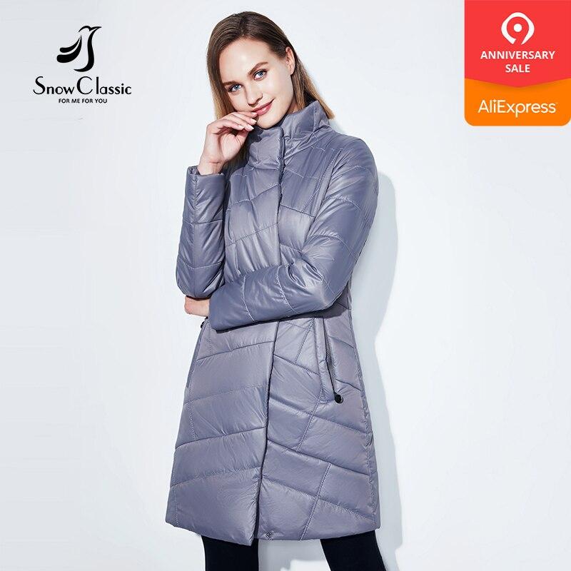 SnowClassic new spring coat women's long fashion coat thin cotton warm coat short trench coat high-quality European women 2018