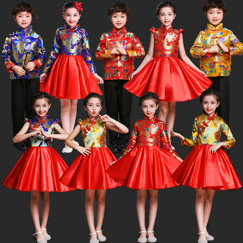 Tangsuit New Year Costumes for Kids Choir Traditional Chinese Clothes Style Princess Toddler Party Dress for Girl Boy Host Hanfu