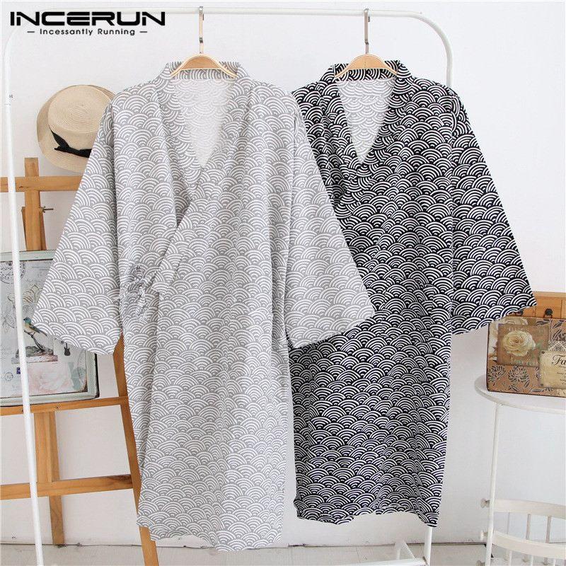 2019 Men Robes Sleepwear Print Short Sleeve Japanese Style Kimono Bathrobe Comfortable Soft Loose Men Homewear Plus Size INCERUN