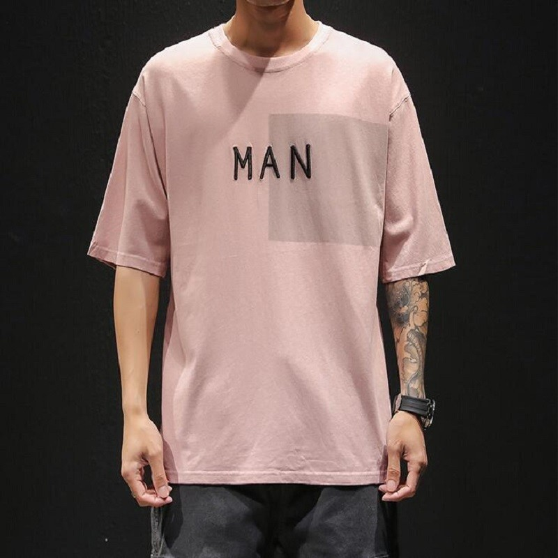 2019 Personality Trend Letter T shirt men Embroidery Round Neck Solid Color Short Sleeve tshirt tops Free shipping in T Shirts from Men 39 s Clothing